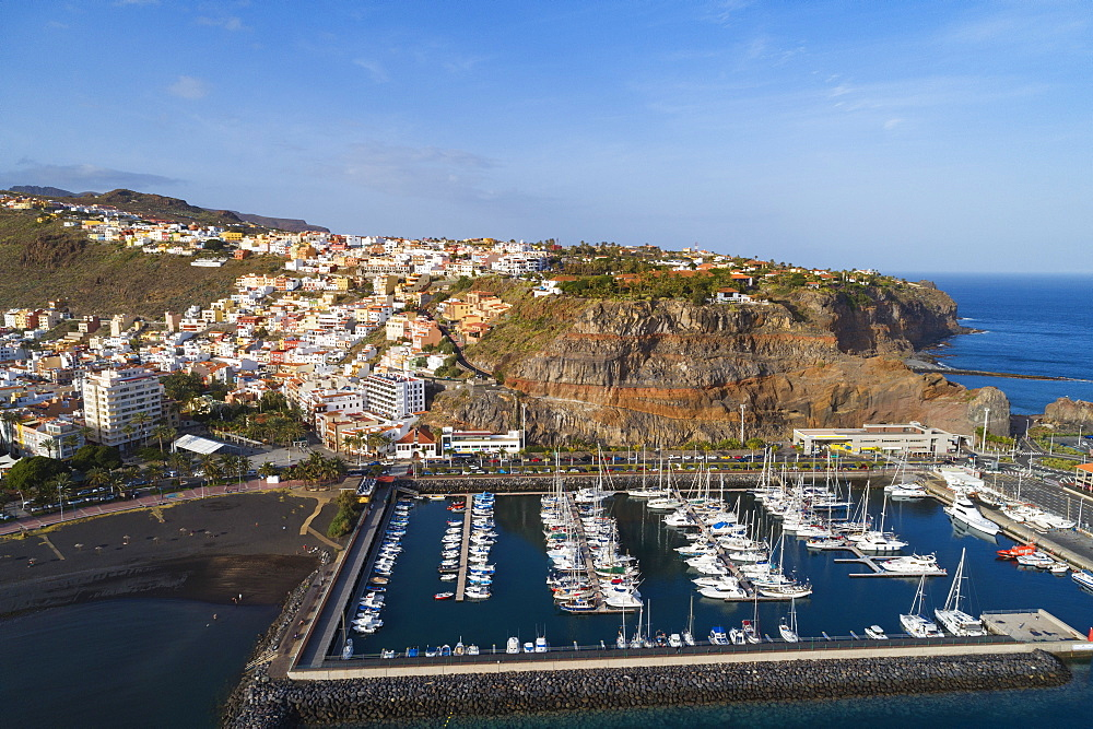 Aerial drone view of San Sebastian de la Gomera town and marina, UNESCO Biosphere Site, La Gomera, Canary Islands, Spain, Atlantic, Europe