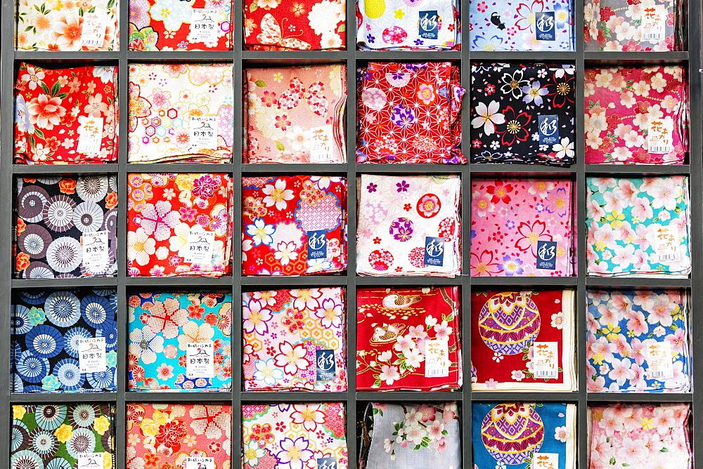 Handkerchief souvenirs, Miyajima Island, Hiroshima Prefecture, Honshu, Japan, Asia