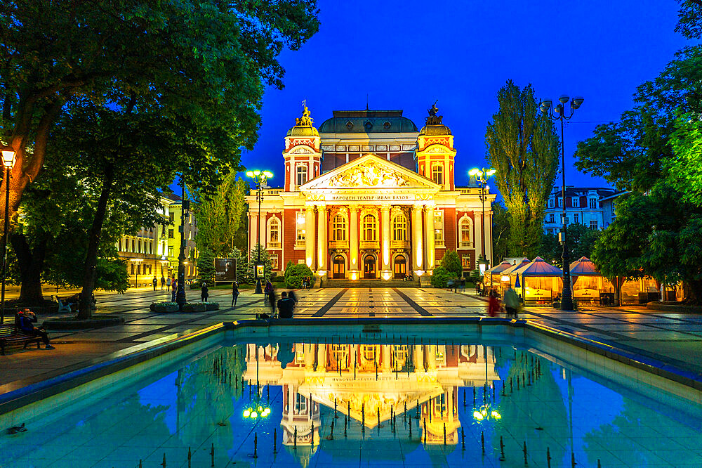 Eastern Europe, Bulgaria, Sofia, Ivan Vazov National Theatre (drone)
