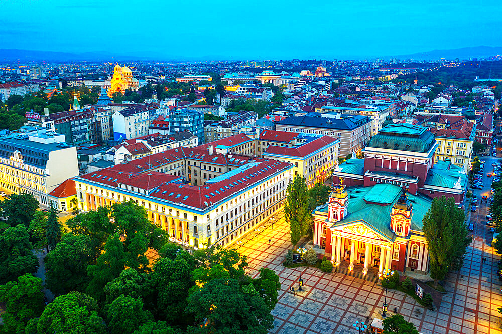 Eastern Europe, Bulgaria, Sofia, Ivan Vazov National Theatre, aerial view (drone)