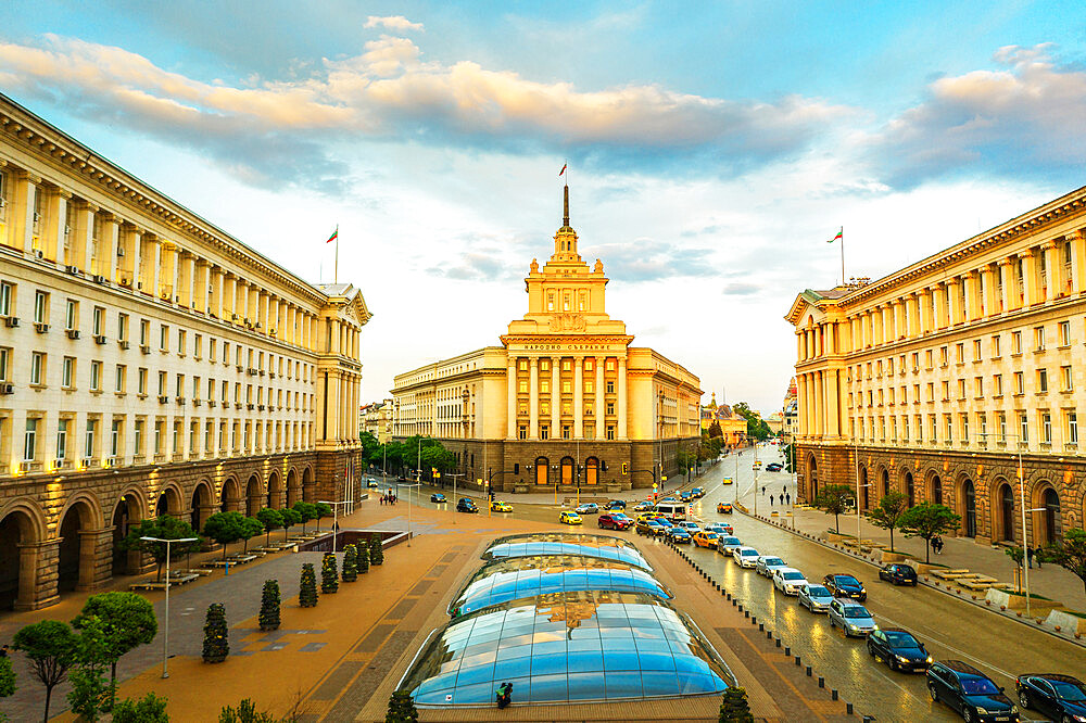 View by drone of National Assembly building, Sofia, Bulgaria, Europe