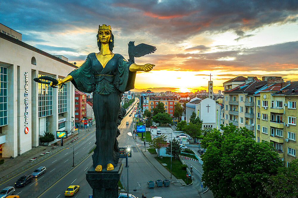 St. Sofia statue taken by drone, Sofia, Bulgaria, Europe