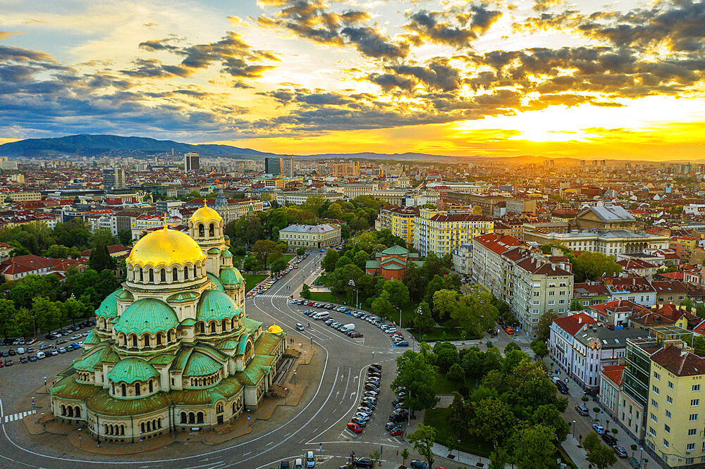 Europe, Bulgaria, Sofia, Alexander Nevsky Russian orthodox cathedral, aerial view (drone)
