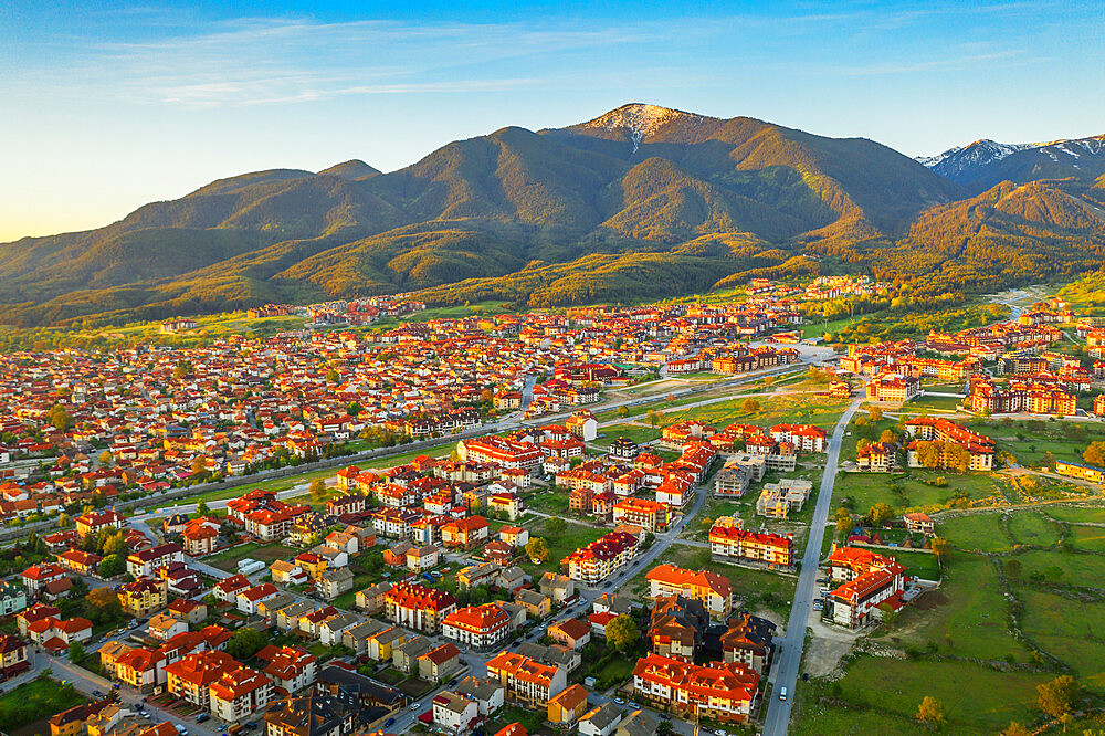 Europe, Bulgaria, Bansko, aerial view of Bansko and Pirin National Park, Unesco site (drone)