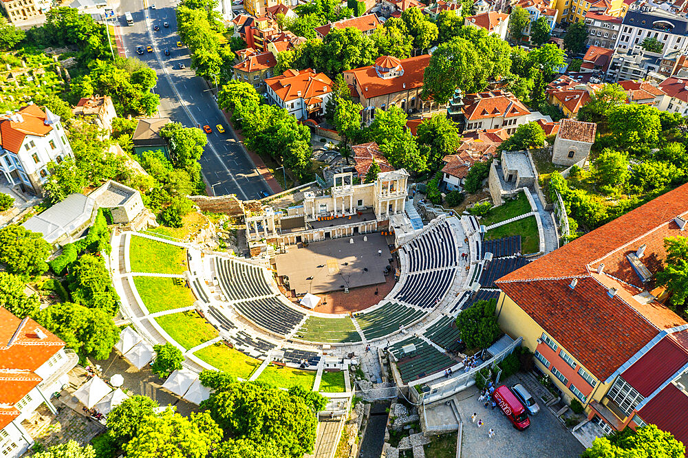 Europe, Bulgaria, Plovdiv, aerial view of Roman arena (drone)
