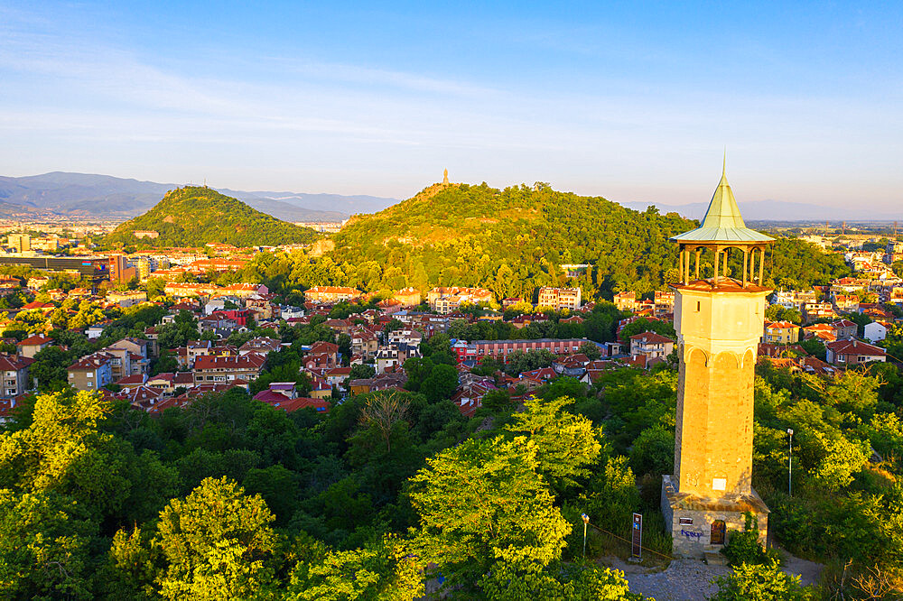 Aerial view by drone of Danov Hill with 16th century minaret style clock tower, Plovdiv, Bulgaria, Europe