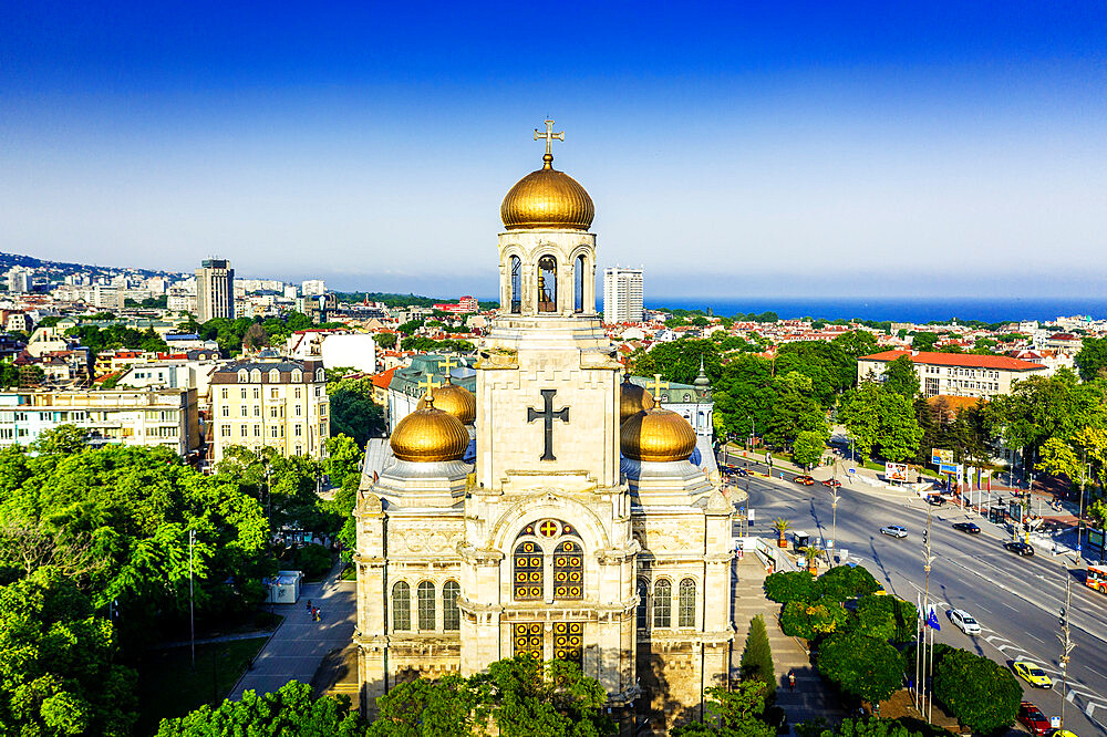 Europe, Bulgaria, Varna, aerial view of Mother of God Cathedral (drone)