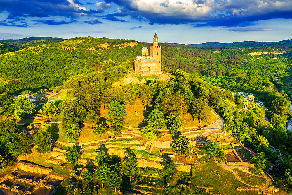 Aerial view by drone of Tsarevets fortress, Veliko Tarnovo, Bulgaria, Europe