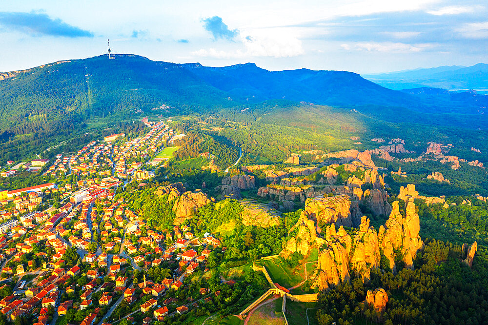 Europe, Bulgaria, Belogradchik, aerial view of Kaleto Rock Fortress rock formations (drone)