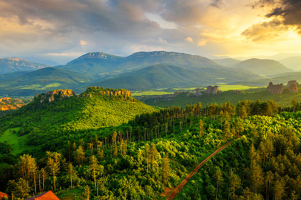Aerial view by drone of forest, Belogradchik, Bulgaria, Europe