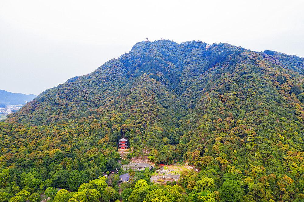 Japan, Honshu, Gifu prefecture, Gifu, Gifu Park, 3 storey pagoda on Mount Kinka