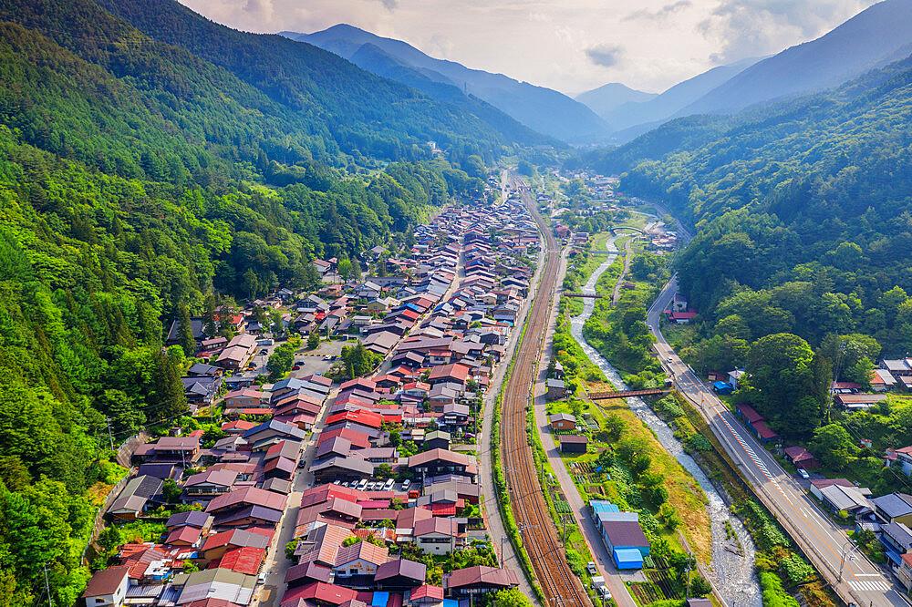 Japan, Honshu, Nagano prefecture, Kiso valley, Nakasendo old post town of Narai aerial view