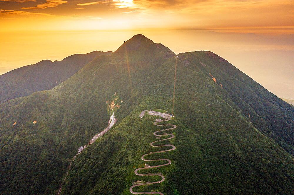 Japan, Honshu, Tohoku, Aomori prefecture, aerial view of mountain road on Mt Iwaki