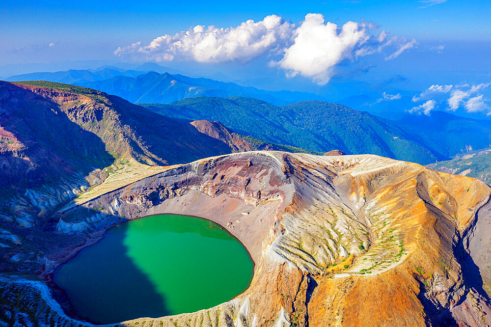 Japan, Honshu, Yamagata prefecture, aerial view of Mt. Zao san