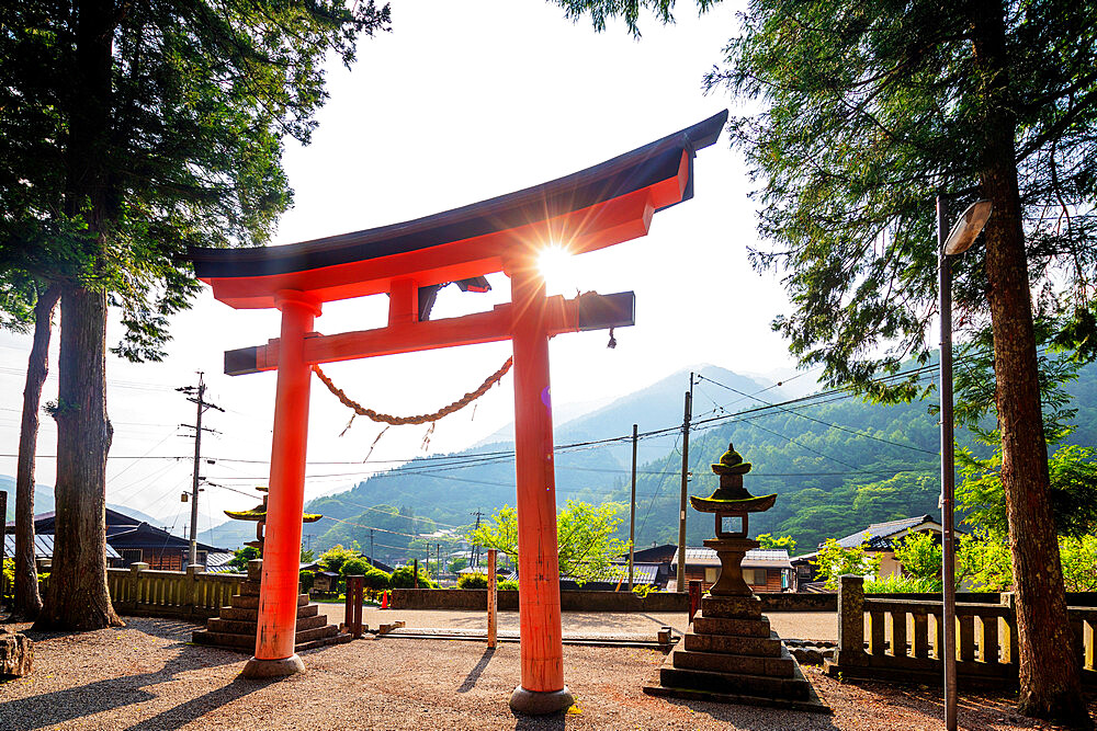 Tsumago Shrine torii gate, Nakasendo old post town of Tsumago, Nagano prefecture, Honshu, Japan, Asia