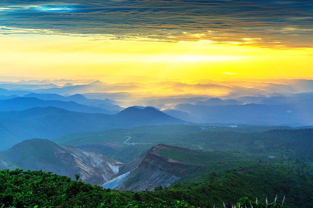 Japan, Honshu, Yamagata prefecture, Mt. Zao san sunrise