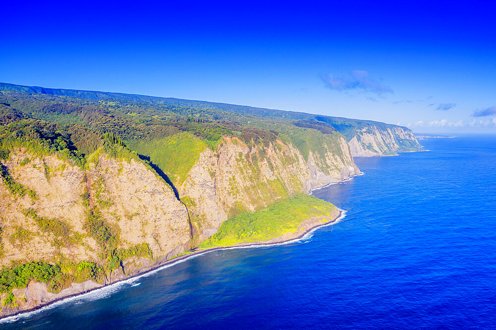 USA, Hawaii, Big Island, Waipio valley north shore, aerial view
