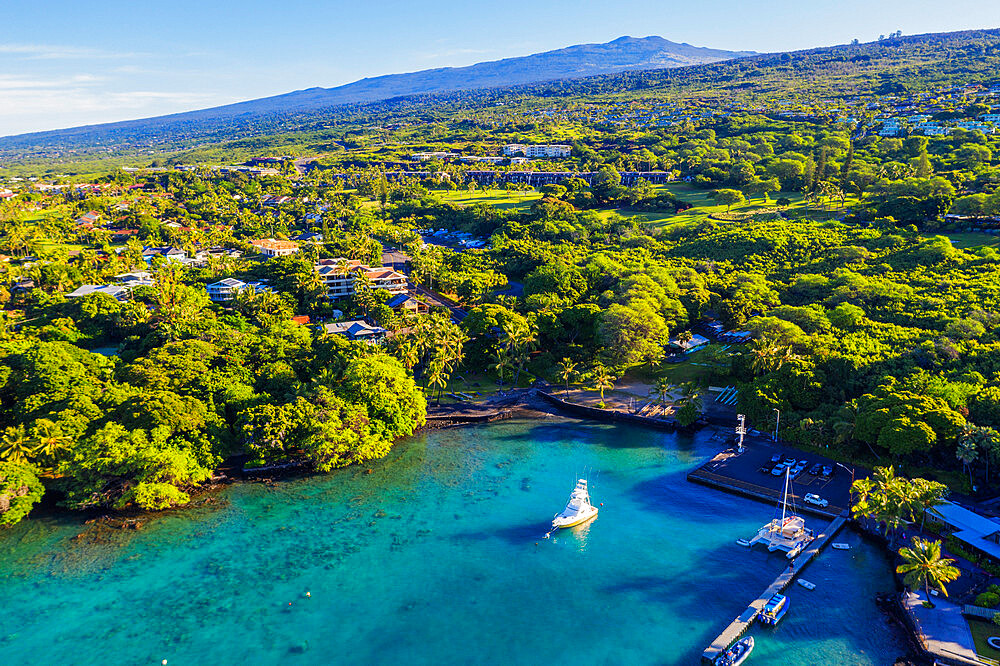 Aerial view of Pauoa Bay, Big Island, Hawaii, United States of America, North America