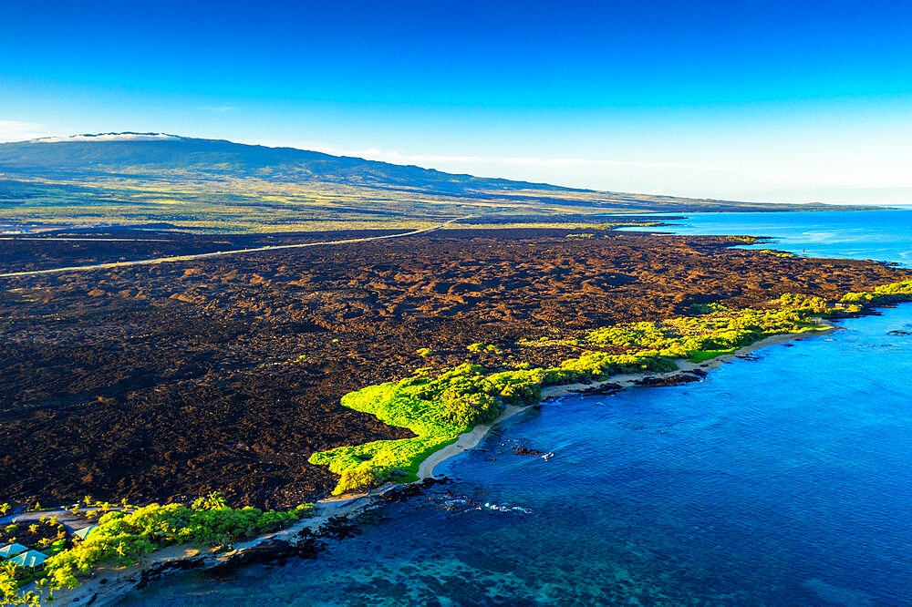 Aerial view of lava flow on west coast beach, Big Island, Hawaii, United States of America, North America