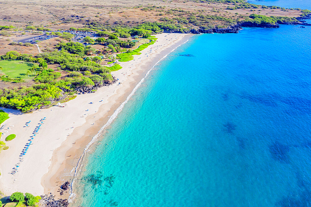 Aerial view of Hapuna beach, west coast resort, Big Island, Hawaii, United States of America, North America