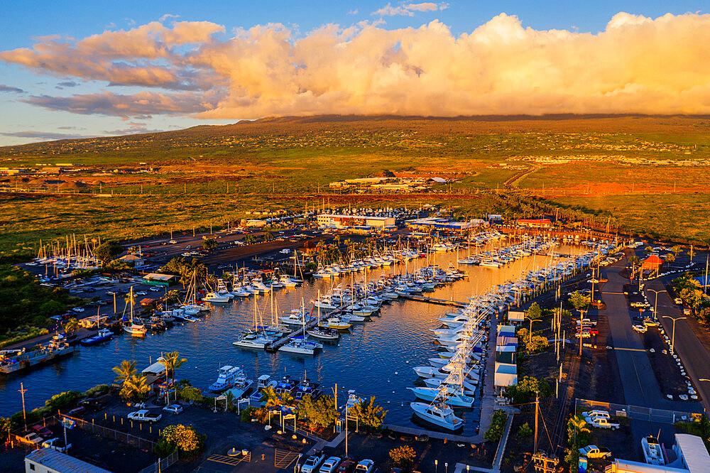Aerial view of Honokohau Marina, Big Island, Hawaii, United States of America, North America