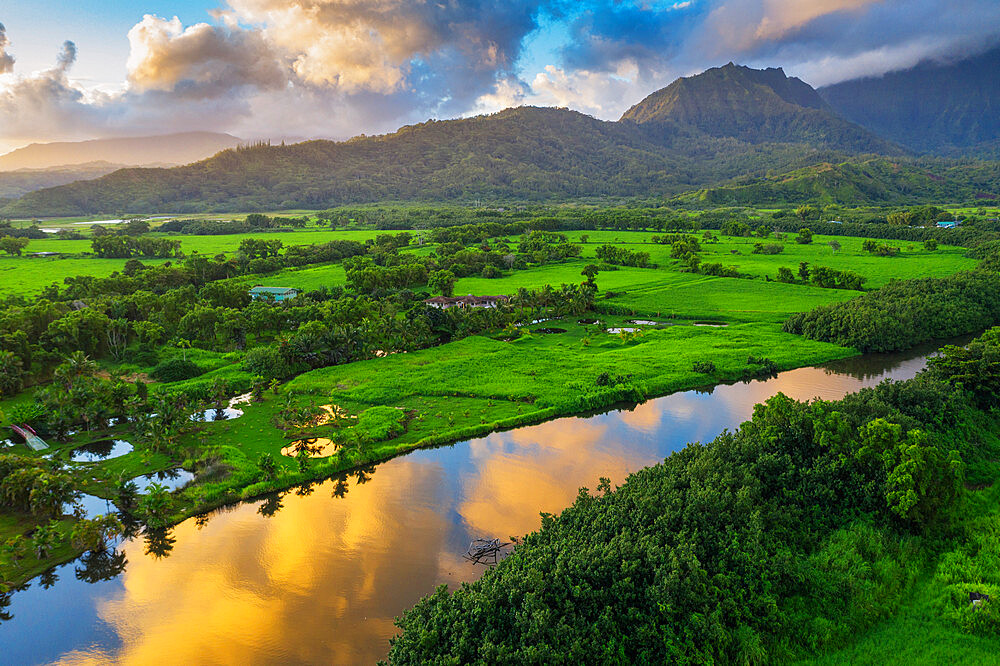 Aerial view by drone of Hanalei River, Kauai Island, Hawaii, United States of America, North America