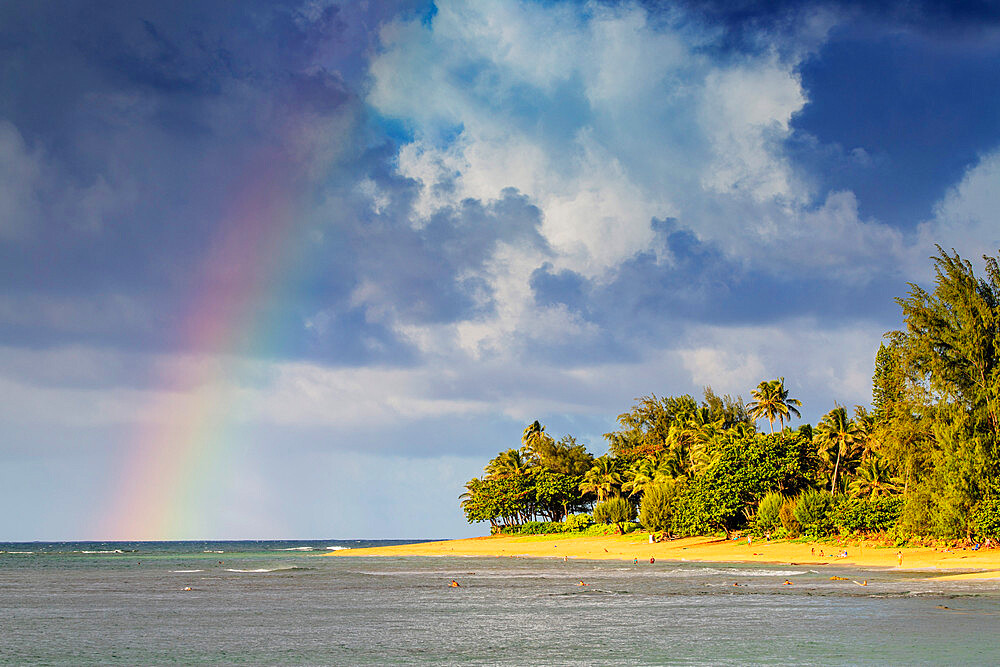 Rainbow over Haena State Park beach, Kauai Island, Hawaii, United States of America, North America