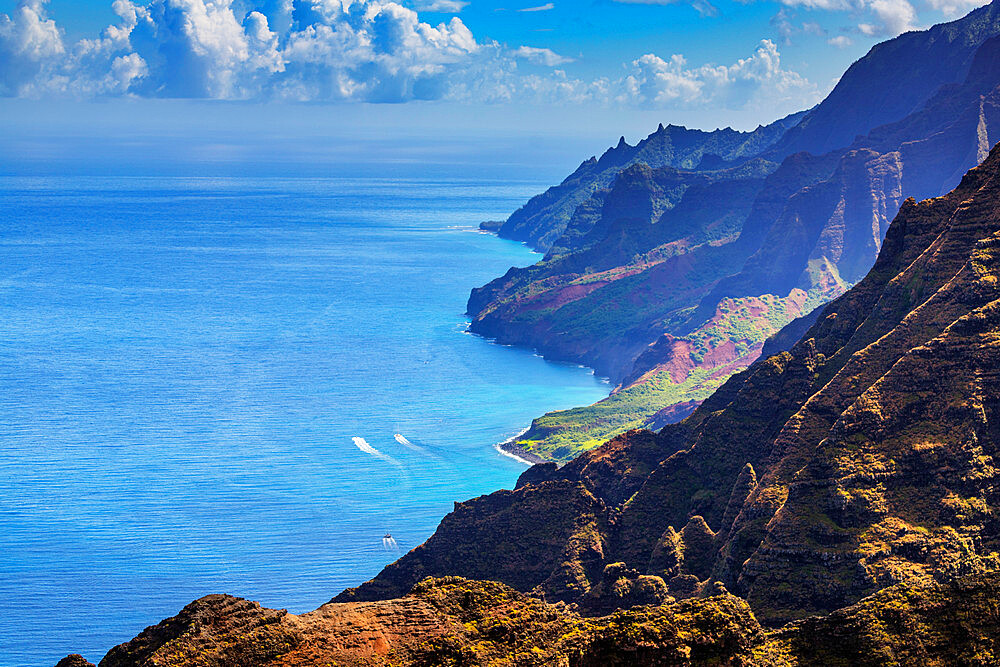 Pali sea cliffs, Napali coast, Kokee State Park, Kauai Island, Hawaii, United States of America, North America