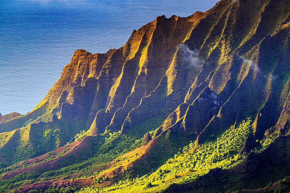 Pali sea cliffs at Kalalau lookout, Napali coast, Kokee State Park, Kauai Island, Hawaii, United States of America, North America