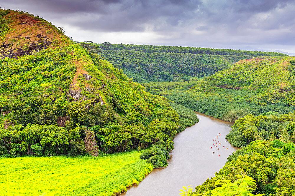 Kayakers on Wailua River, Kauai Island, Hawaii, United States of America, North America