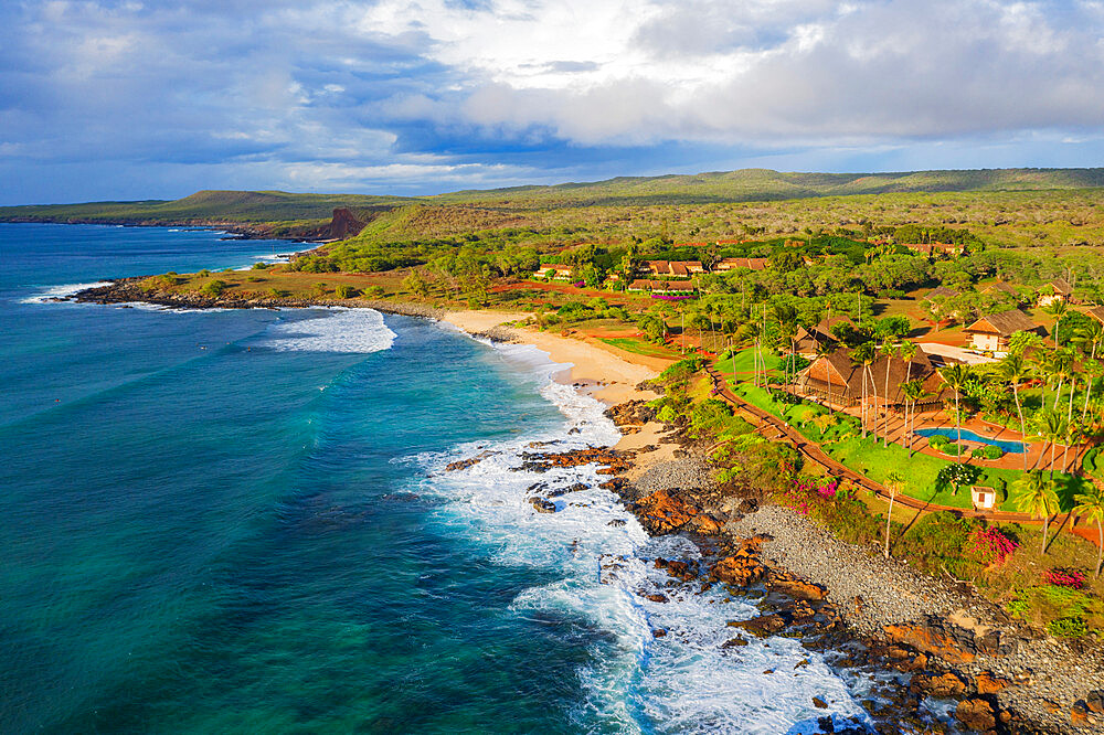 Aerial view by drone of Papohaku Beach, Molokai Island, Hawaii, United States of America, North America - 733-8974