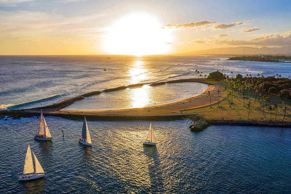 United States of America, Hawaii, Oahu island, Honolulu, aerial view of Waikiki (drone)
