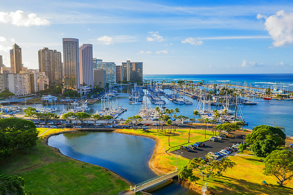 United States of America, Hawaii, Oahu island, Honolulu, aerial view of Waikiki (drone) - 733-8988