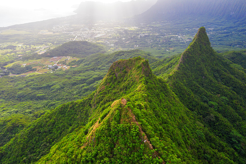 United States of America, Hawaii, Oahu island, 3 peaks trail, aerial view (drone)