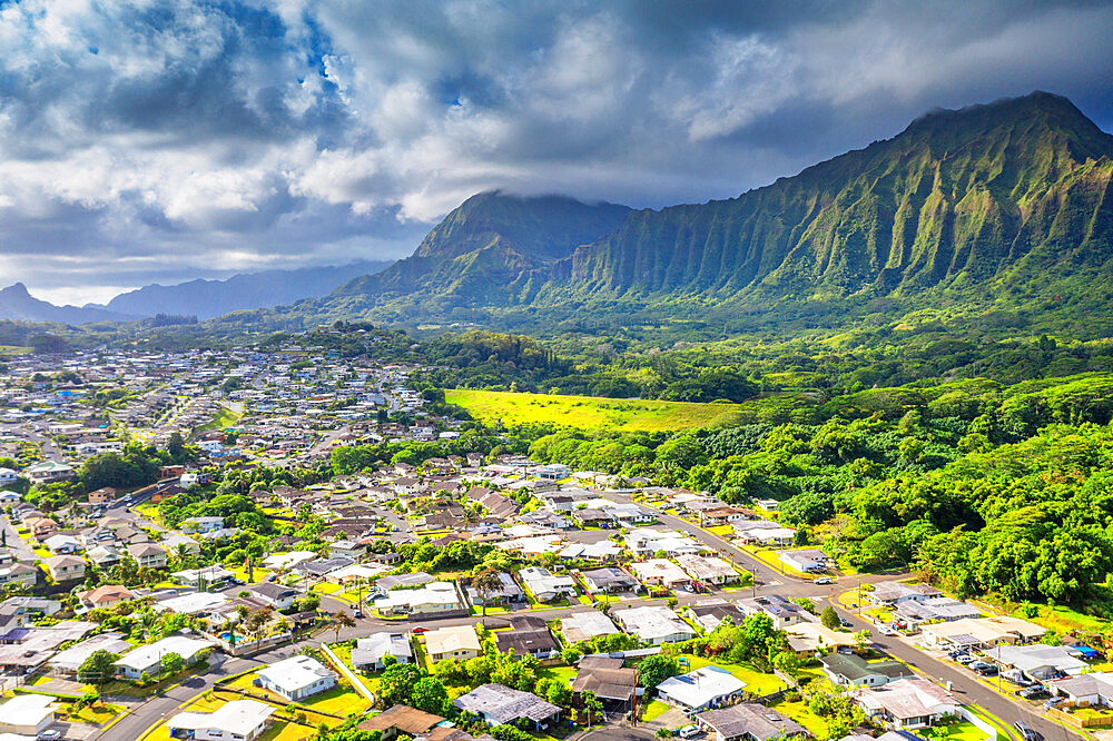 Aerial view by drone of Kailua town, Oahu Island, Hawaii, United States of America, North America - 733-8997