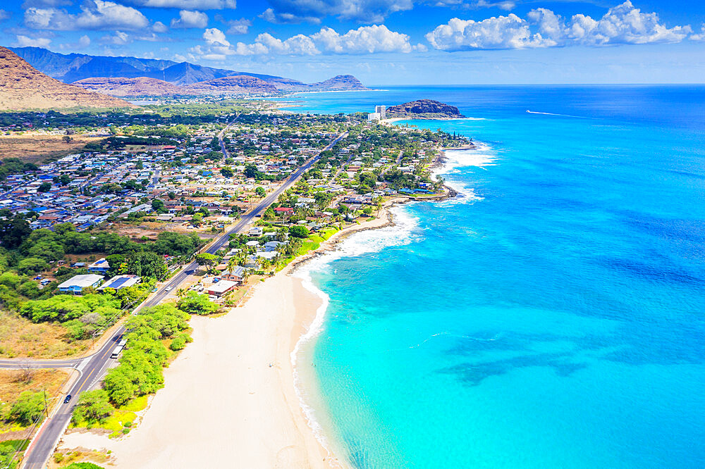 Aerial view by drone of Makaha beach, Oahu Island, Hawaii, United States of America, North America