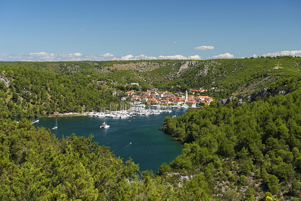 Port of Skradin and boats, Croatia.
