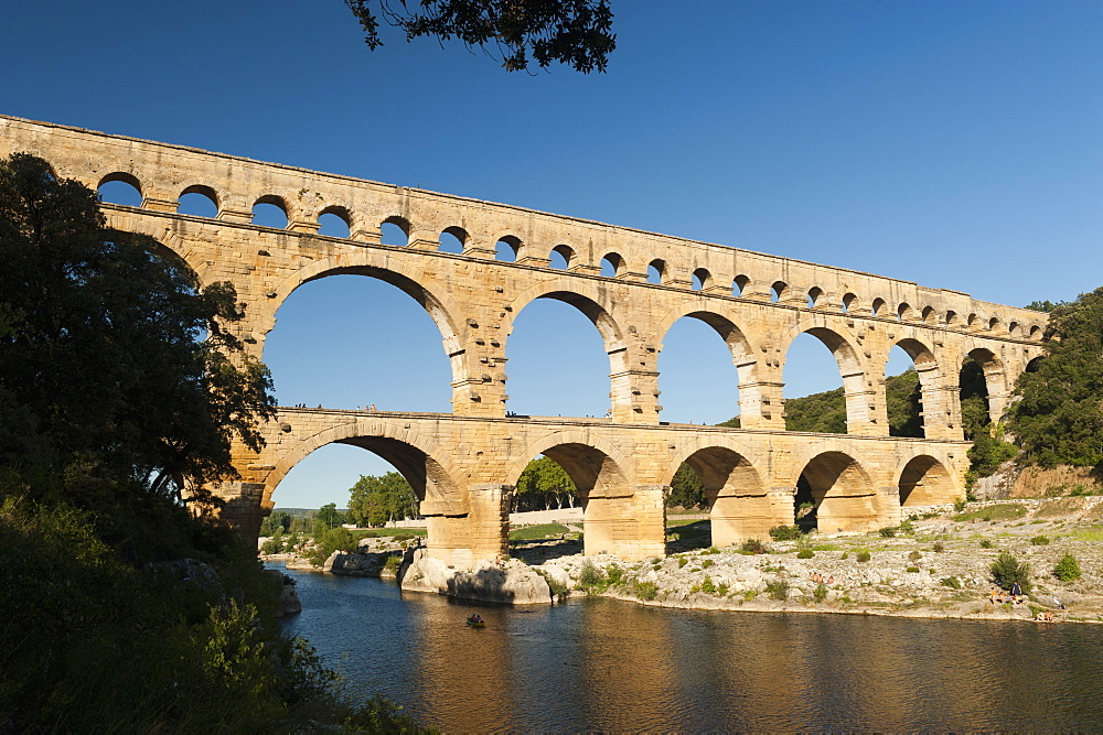 Pont du Guard are remains of Roman aquaduct (1 AD - UNESCO heritage listed). Vers-Pont-du-Guard, Provence, France.