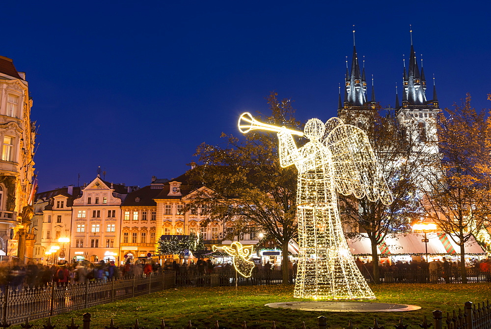 Christmas Market at Old Town Square, including angel, Rococo Kinsky Palace and Gothic Tyn Church, Old Town, UNESCO World Heritage Site, Prague, Czech Republic, Europe - 737-719