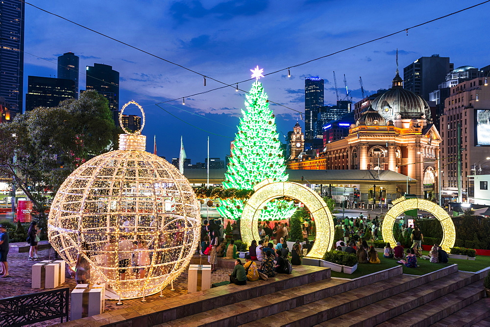 Christmas Tree and decorations at Federation Squares Christmas Square, City of Melbourne, Victoria, Australia, Pacific - 737-724