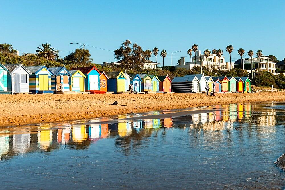 Bathing boxes (beach huts), Brighton, Port Phillip Bay, Victoria, Australia, Pacific - 737-728