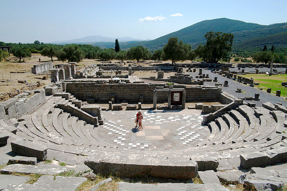 Ancient Messene theater, Messene, Peloponnese, Greece, Europe - 739-1394