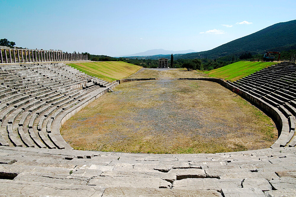 The ancient Messene Stadium, Messene, Peloponnese, Greece, Europe - 739-1395