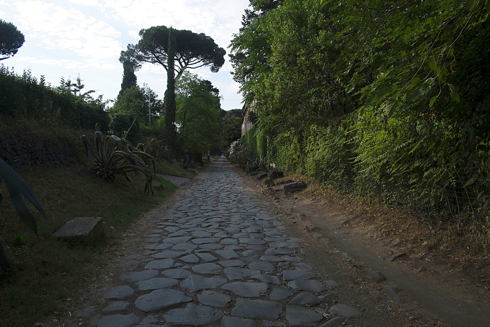 The original ancient Roman pavement on the Appian Way, Rome, Lazio, Italy, Europe