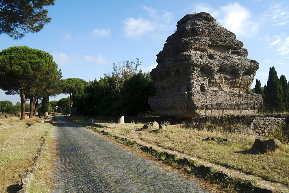Pyramid tomb along the ancient Appian Way, Rome, Lazio, Italy, Europe
