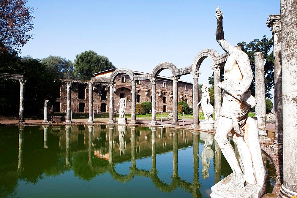 Canopus pool, Villa Adriana (Hadrian's Villa), UNESCO World Heritage Site, Tivoli, Lazio, Italy, Europe - 739-1484