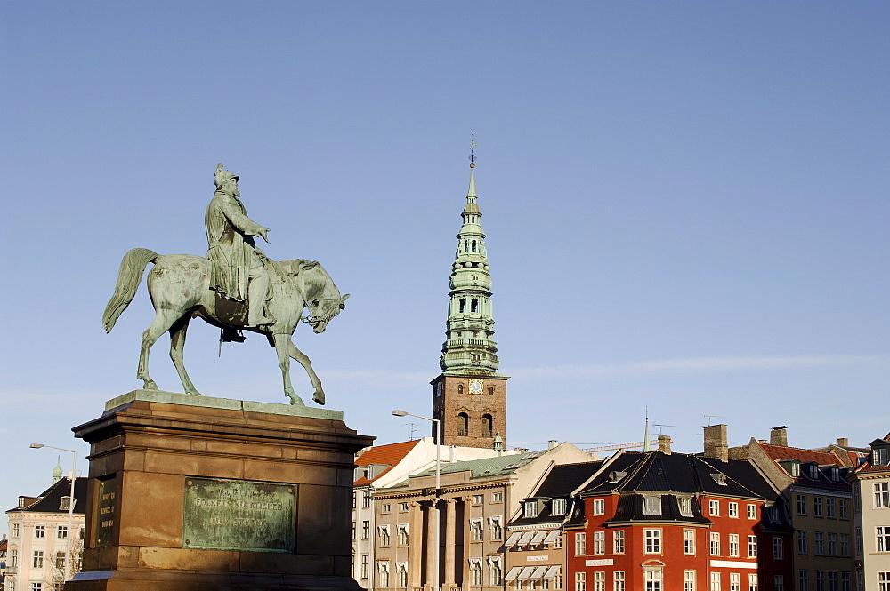 Nikolaj church and Frederik VII equestrian statue, Copenhagen, Denmark, Scandinavia, Europe