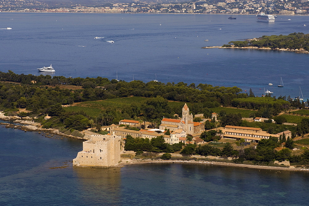 View from helicopter of Lerins Abbey, Ile Saint-Honorat, Iles de Lerins, Provence, Cote d'Azur, French Riviera, France, Mediterranean, Europe