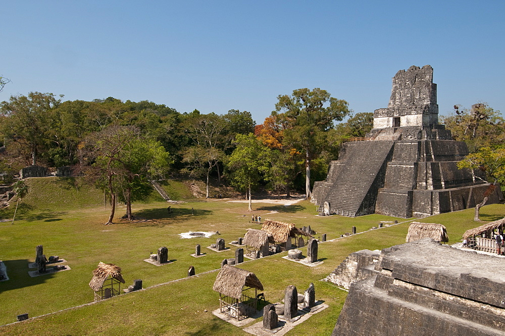 Temple II and Grand Plaza, Mayan archaeological site, Tikal, UNESCO World Heritage Site, Guatemala, Central America