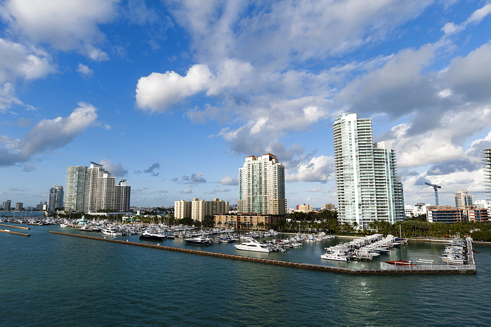 Skyscrapers and marina, South Beach, Miami Beach, Florida, United States of America, North America